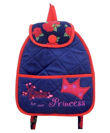 Little Pipal Kisses For Our Princess Junior Backpack Red And Pink - 14 Inches