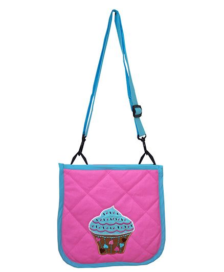 Little Pipal Cupcake Cross Body Bag Pink And Blue - 10 Inches