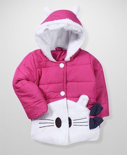 Babyhug Full Sleeves Hooded Jacket Cat Face Design - Pink