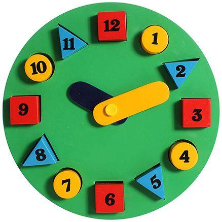 Little Genius - Wooden Circle Clock Green