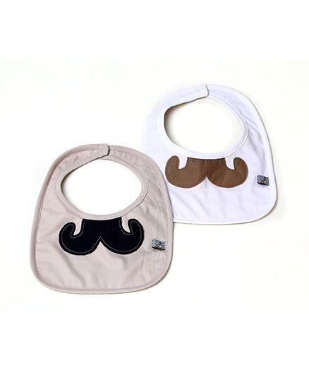 Mi Dulce Anya Organic Cotton Bibs Moustache Desiggn Set of 2 - Beige White