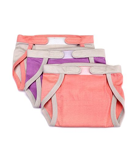 Mi Dulce Anya Organic Cotton Nappies With Velcro Closure Set of 3 - Peach Purple Cream