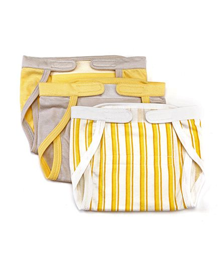 Mi Dulce Anya Organic Cotton Nappies With Velcro Closure Set of 3 - Yellow Grey