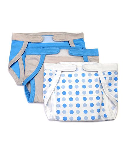 Mi Dulce Anya Organic Cotton Nappies With Velcro Closure Set of 3 - Blue Grey