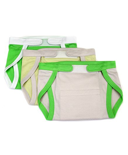 Mi Dulce Anya Organic Cotton Nappies With Velcro Closure Set of 3 - Off White Yellow Green