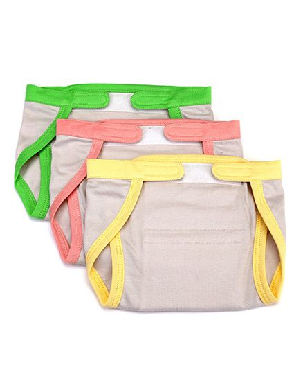 Mi Dulce Anya Organic Cotton Nappies With Velcro Closure Set of 3 - Grey Yellow Peach Green