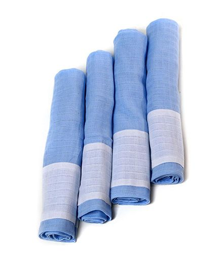 Mi Dulce Anya Burp Cloths Set of 4 - Blue