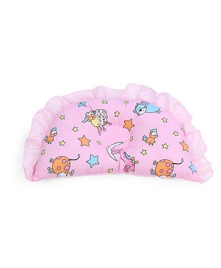 Frilled Semi Circular Baby Pillow Multi Print - Pink
