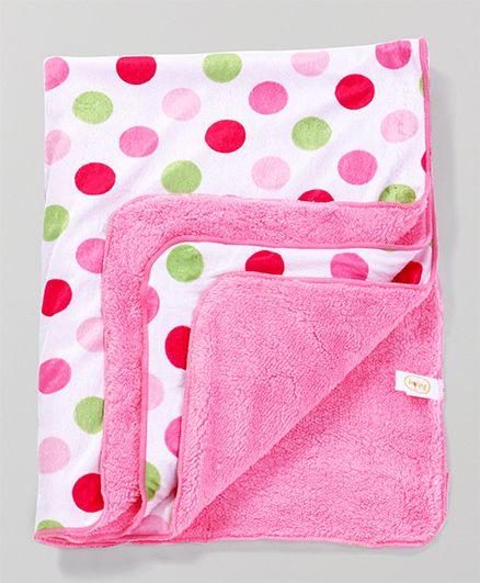 Babyhug Baby Blanket Polka Dots - White & Pink