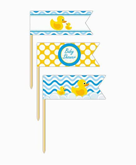Prettyurparty Rubber Ducky Baby Shower Toothpicks