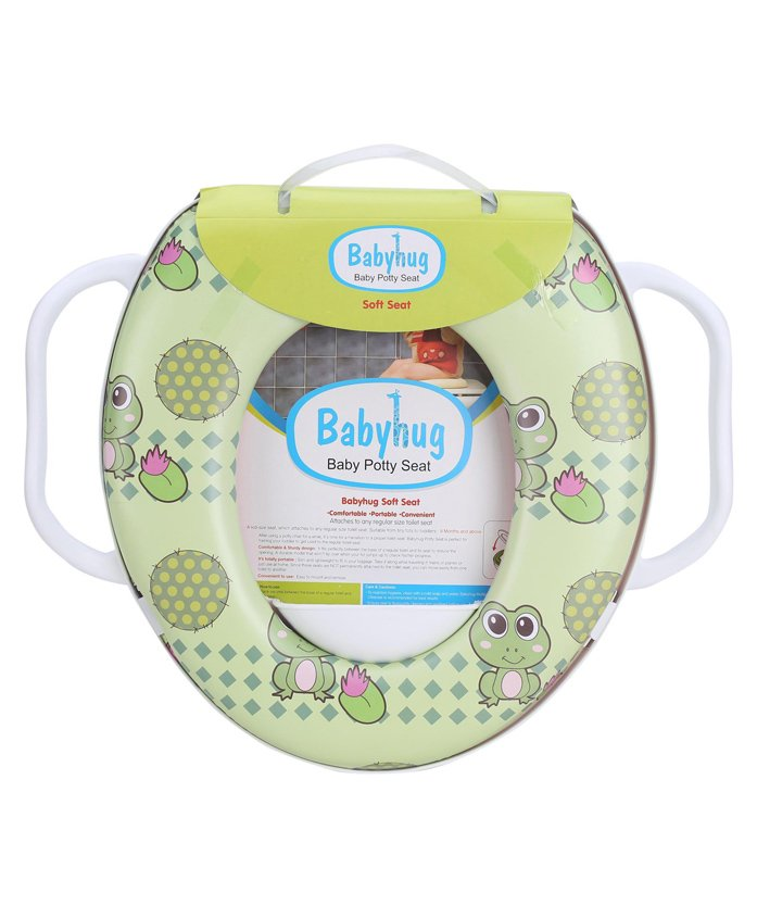 Babyhug Soft Cushioned Baby Potty Seat With Handle Froggy Print - Green