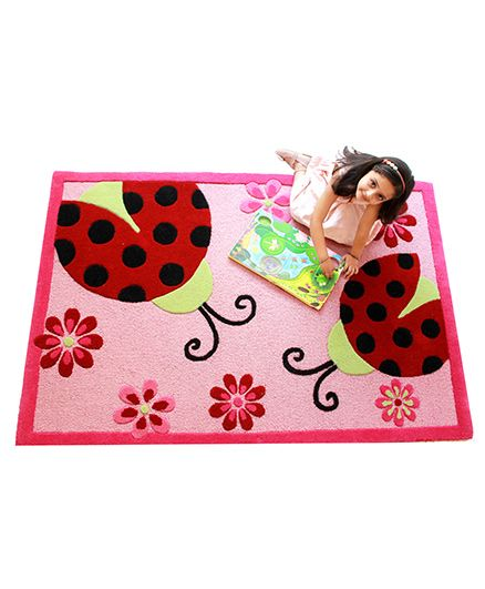 Little Looms Lady Bug Rug - Pink & Red