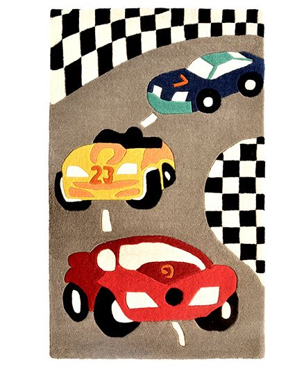 Little Looms Race Cars Kids Rug - Multicolour