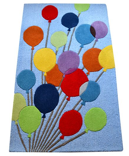 Little Looms Hand Woven Balloon Kids Rug - Blue
