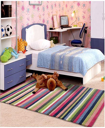 Little Looms Classic Stripe Print Rug - Multicolour