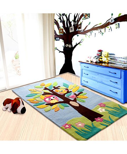 Little Looms Tree Print Rug - Multicolour