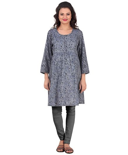 Uzazi Three Fourth Sleeves Maternity Kurti Floral Print - Grey - 793924