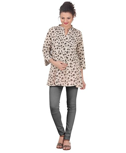 Uzazi Three Fourth Sleeves Maternity Top Allover Floral Print - Cream & Black