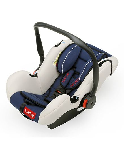 LuvLap Infant Baby Car Seat Cum Carry Cot With Rocker And Canopy - Dark Blue
