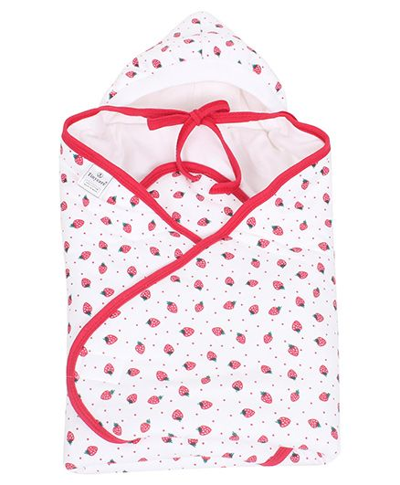 Tinycare Hooded Wrappper Strawberry Print - Pink