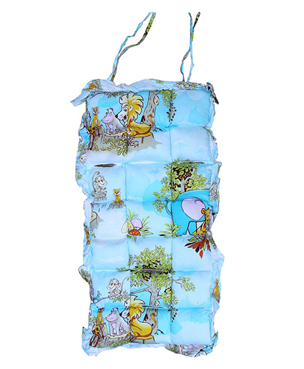 Owen Stroller Pad Jungle Animals Print - Blue