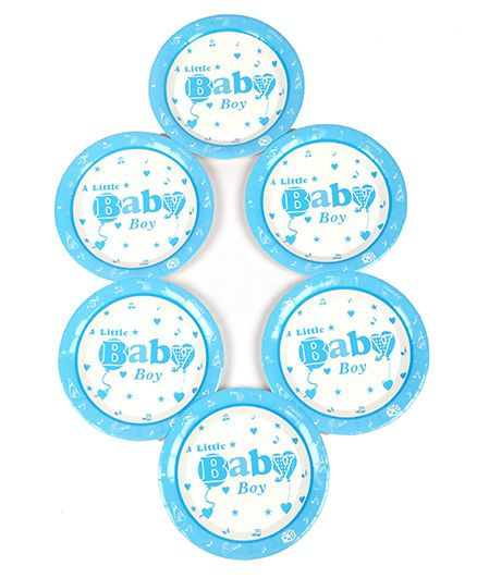 Funcart Little Baby Theme Paper Plate - Blue
