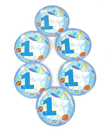 Funcart Sporty At 1 Theme Disposable Paper Plate - Pack of 6