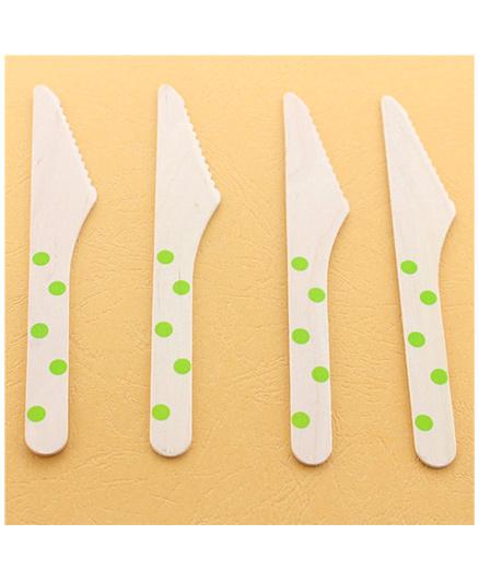 Funcart Wooden Cutlery Utensil Polka Dot Green Knife - Pack of 10