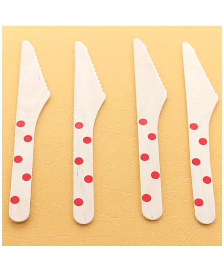 Funcart Wooden Cutlery Utensil Polka Dot Red Knife - Pack of 10