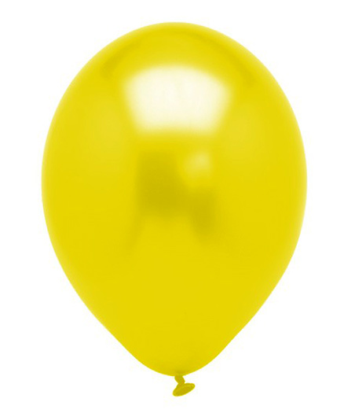 Funcart Metallic Latex Balloons Yellow - Pack of 10