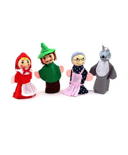 Kuhu Creations Wooden Finger Puppets Little Red Riding Hood Toy Hand Puppets - Set Of 4