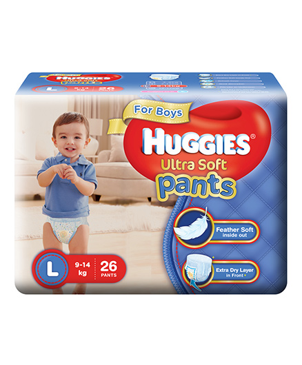 Huggies Ultra Soft Pants Large Size Premium Diapers For Boys - 26 Pieces