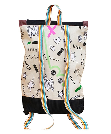 Kadambaby Printed Drawstring Schoolbag - Beige And Black