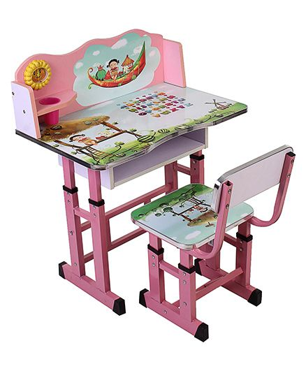 Study Table And Chair Set Alphabet Print - Pink
