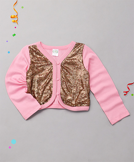 Babyhug High Fashion Full Sleeves Shrug With Embellishment - Pink