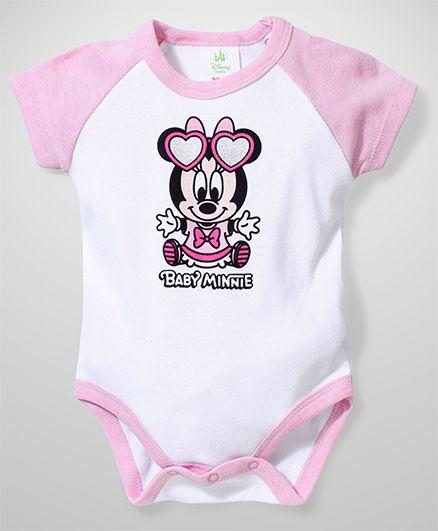 Fox Baby Half Sleeves Onesies Baby Minnie Print - White And Pink