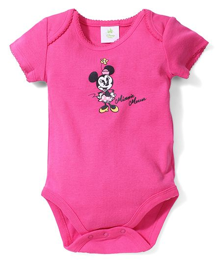 Fox Baby Half Sleeves Onesies Minnie Mouse Print - Fuchsia Pink