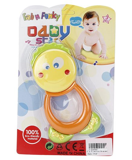 Fab And Funky Rattle Toy - Yellow And Orange
