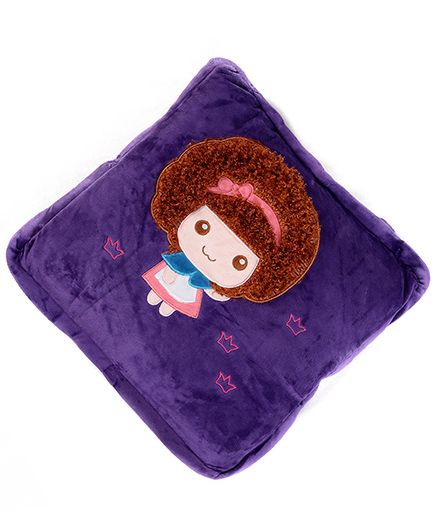 Baby Oodles Cushion cum Quilt Hairy Doll Applique - Purple