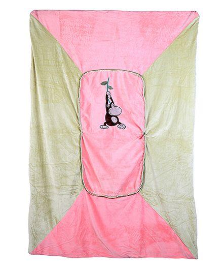 Baby Oodles Cushion cum Zipper Quilt Monkey Applique - Pink