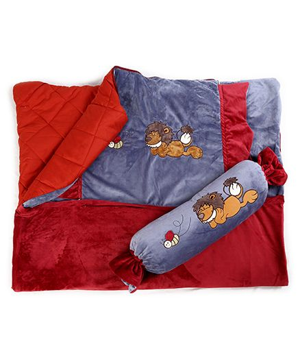 Baby Oodles Toffee Pillow Cum Quilt Lion Applique - Grey