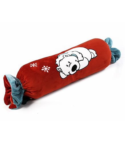 Toffee Pillow Cum Quilt Polar Bear Applique - Red