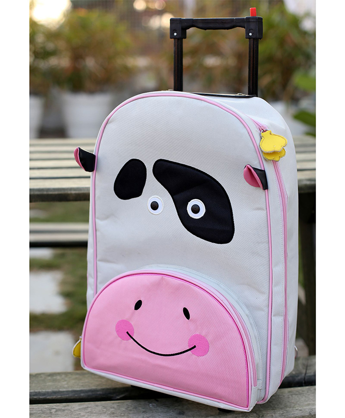 My Gift Booth Travel Trolley Bag Cow Print - Cream And Pink