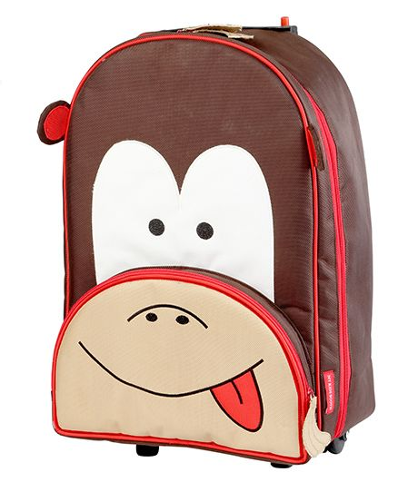My Gift Booth Travel Trolley Bag Monkey Print - Brown