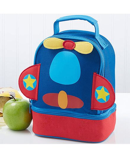 My Gift Booth Plane Print Insulated Lunch Bag - Red And Blue