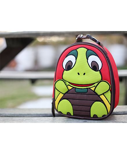 My Gift Booth Turtle Print Insulated Lunch Bag - Red And Turtle