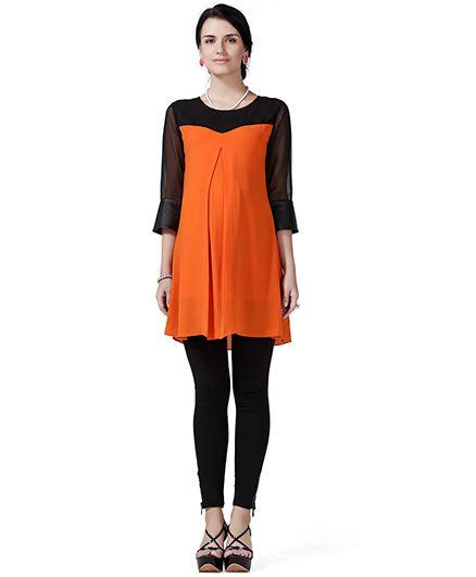 House Of Napius Three Fourth Sleeves Radiation Safe Maternity Tunic Top - Orange & Black