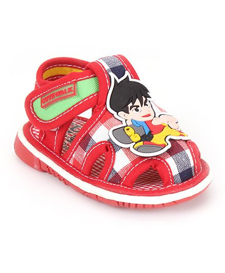 Cute Walk by Babyhug Sandals Cartoon Patch And Checks Print - Red