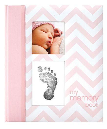 Pearhead Chevron Baby Book With Clean Touch Ink Pad Pink - English