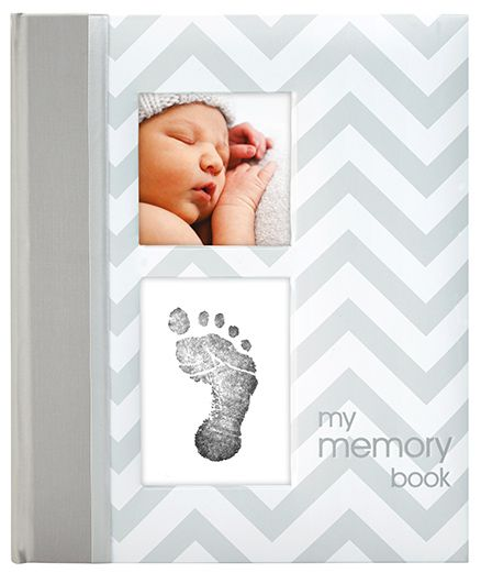 Pearhead Chevron Baby Book With Clean Touch Ink Pad Grey - English